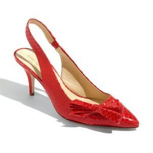 KATE SPADE Tatiana snake-embossed slingback shoes